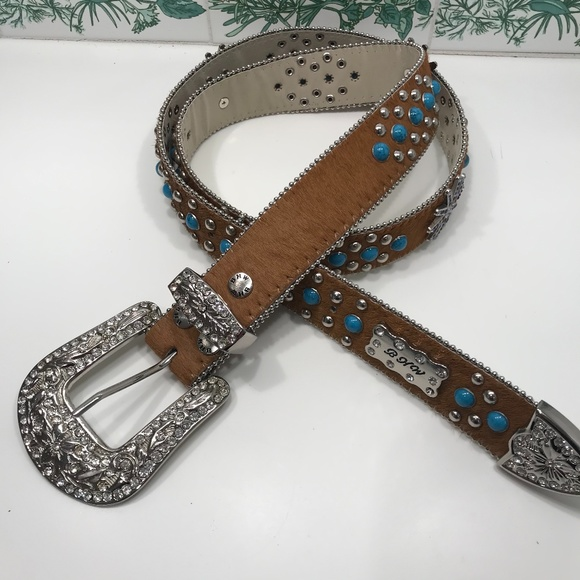 BHW genuine leather belt with Bling